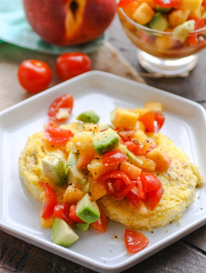 Hatch Chile Grits Cakes with Peach-Citrus Salsa