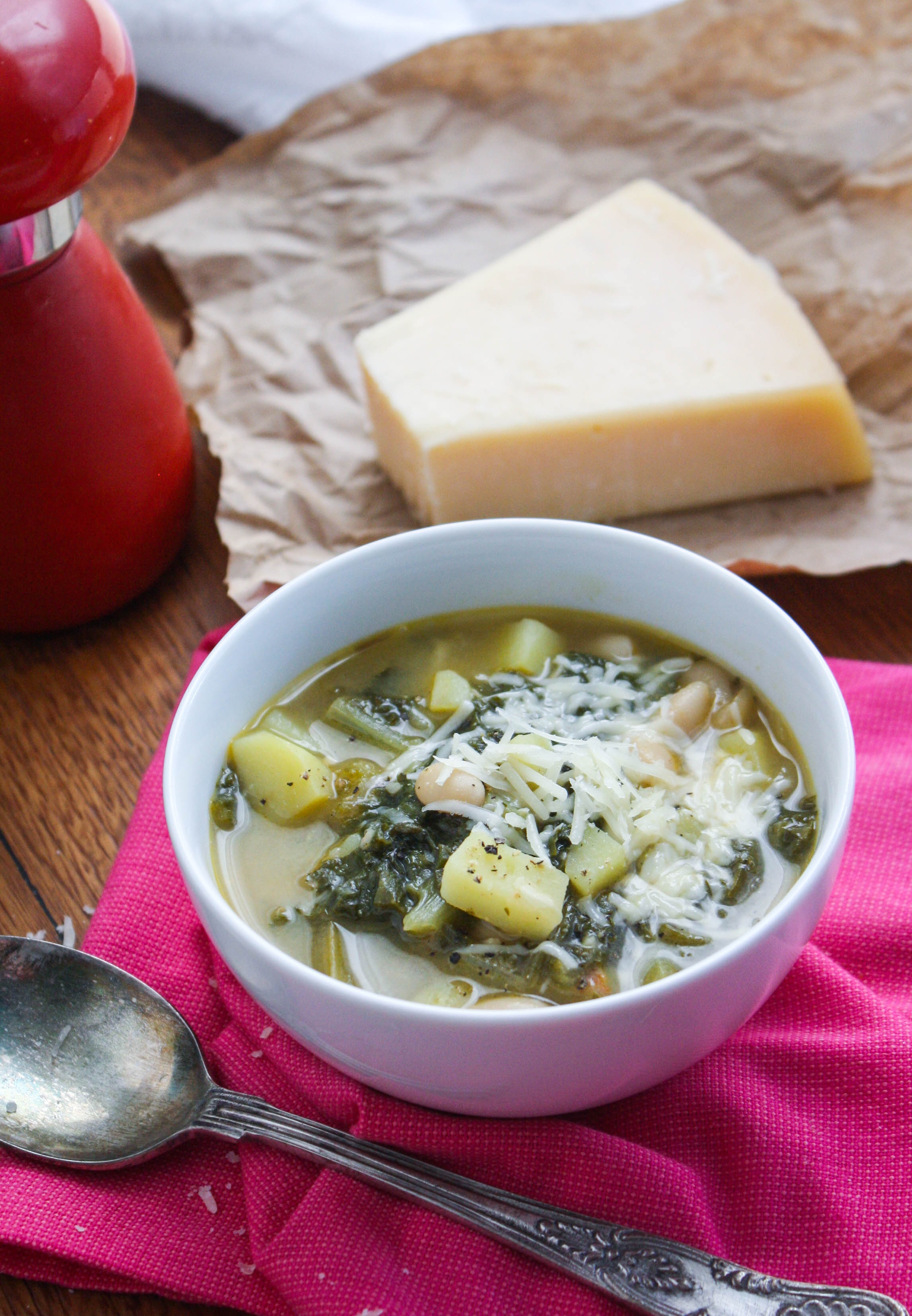 Hearty Escarole Soup with Pancetta is a tasty and hearty soup for any night of the week. Sprinkle some Parmesan cheese over the top of this soup for part of a lovely meal.