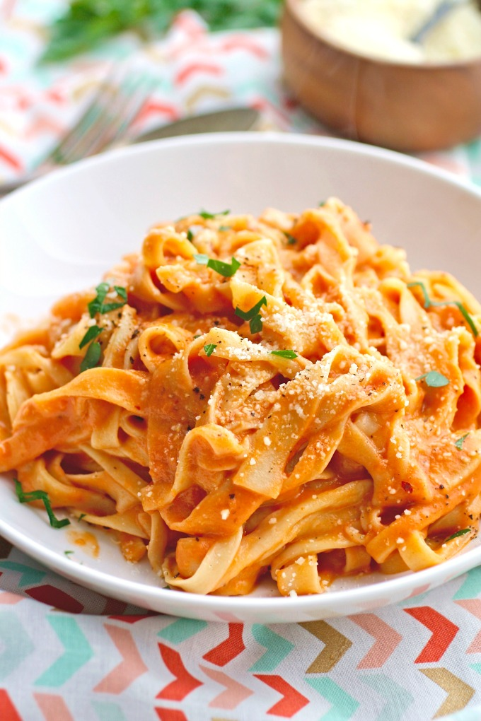 Homemade Pasta (without a machine) with Vodka Sauce makes an amazing meal!