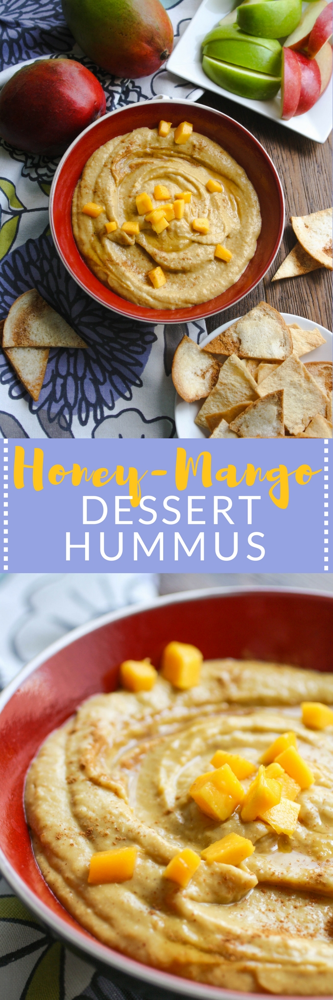 Honey-Mango Dessert Hummus makes a fabulous, sweet snack or dessert. You'll love this twist on a classic dip!