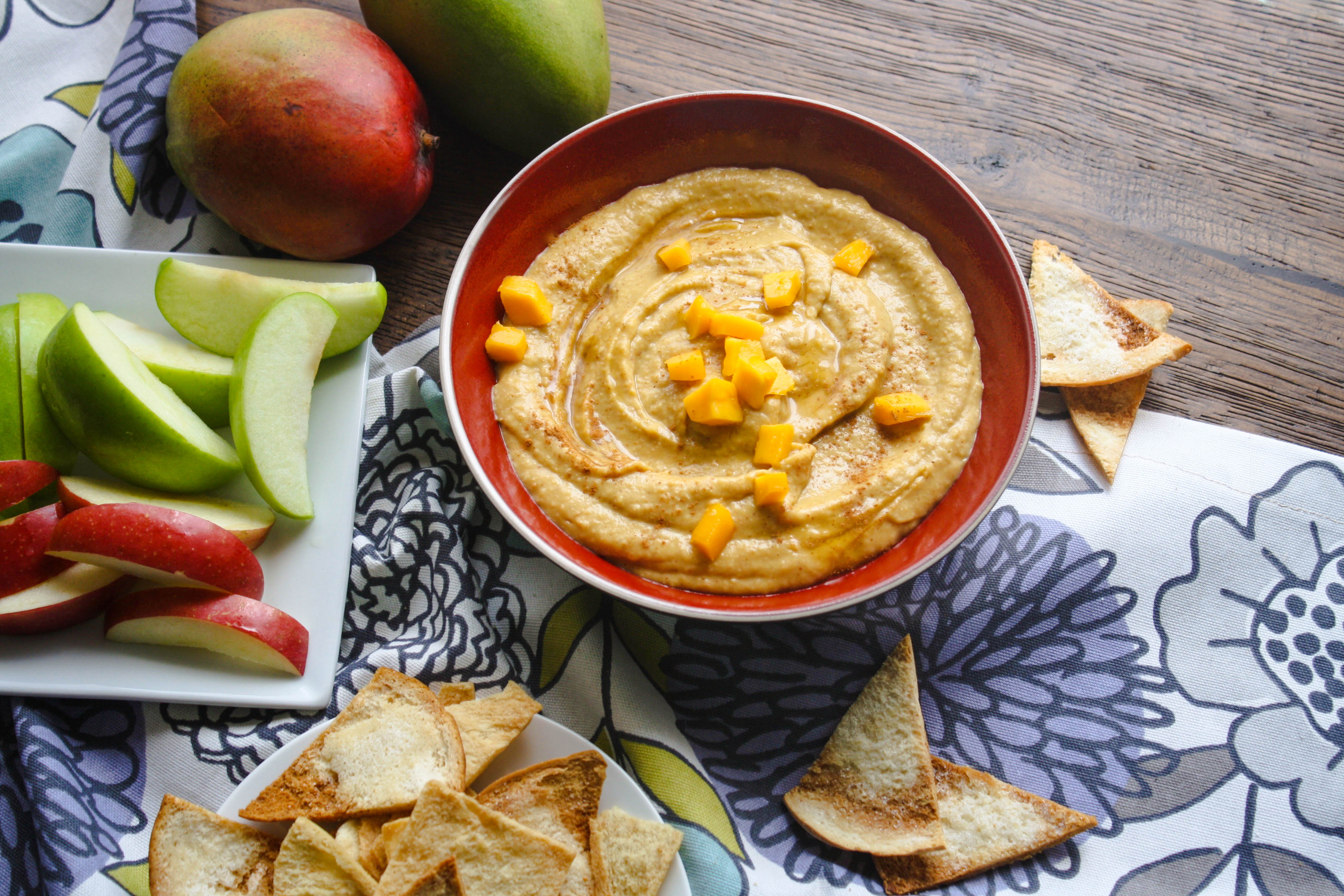 Honey-Mango Dessert Hummus is a fun option for dessert. It's sweet, but not too sweet, so it makes a great afternoon snack, too!
