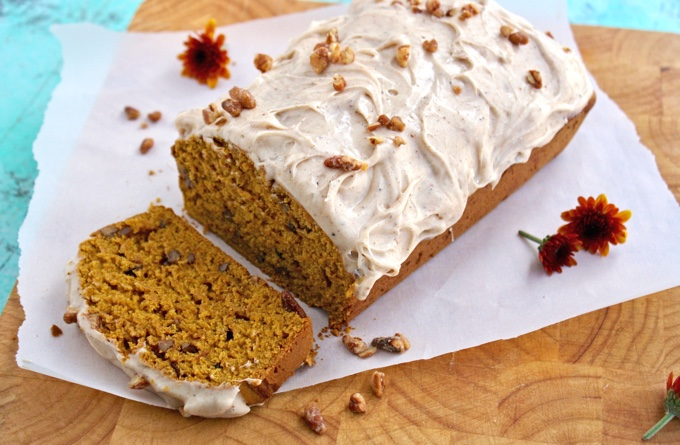 This dessert is so easy to make, you'll reach for Pecan-Pumpkin Break with Chai Cream Cheese Frosting over and over!