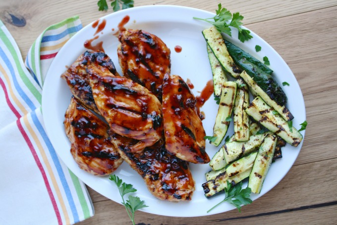 Grilled Chicken with Cherry-Chile Sauce makes a nice change of pace from traditional barbecue sauce!