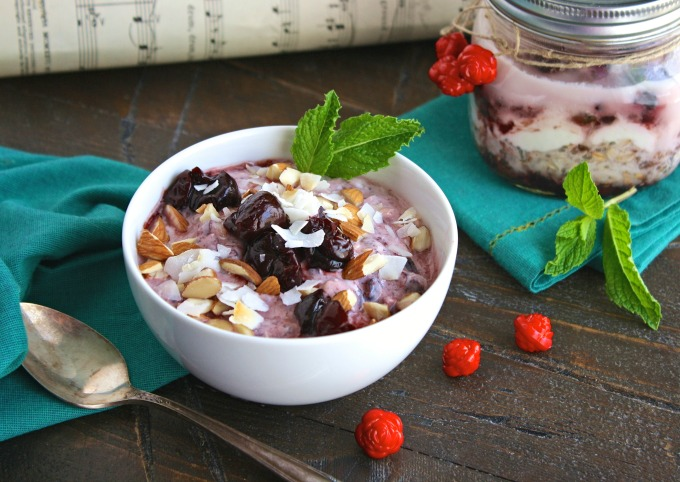 Cherry, Almond & Coconut Overnight Oats with Chia makes a fabulous breakfast!