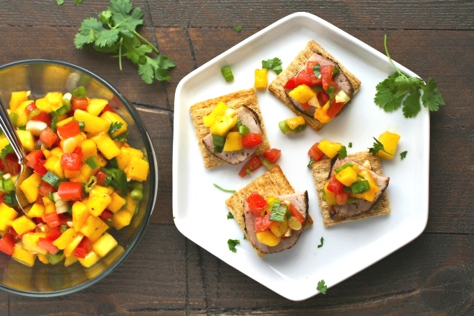 Pork Tenderloin Bites with Mango Salsa are amazing for any get together!