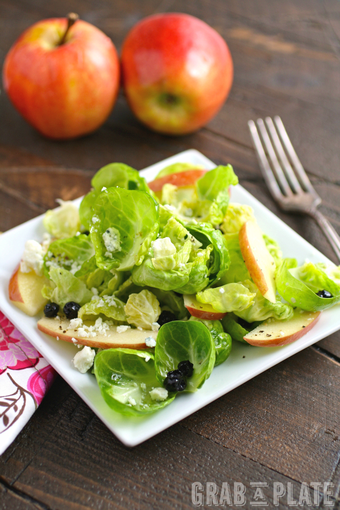 Try a satisfying salad like Brussels Sprouts Salad with Apples, Blueberries & Lemon Vinaigrette!