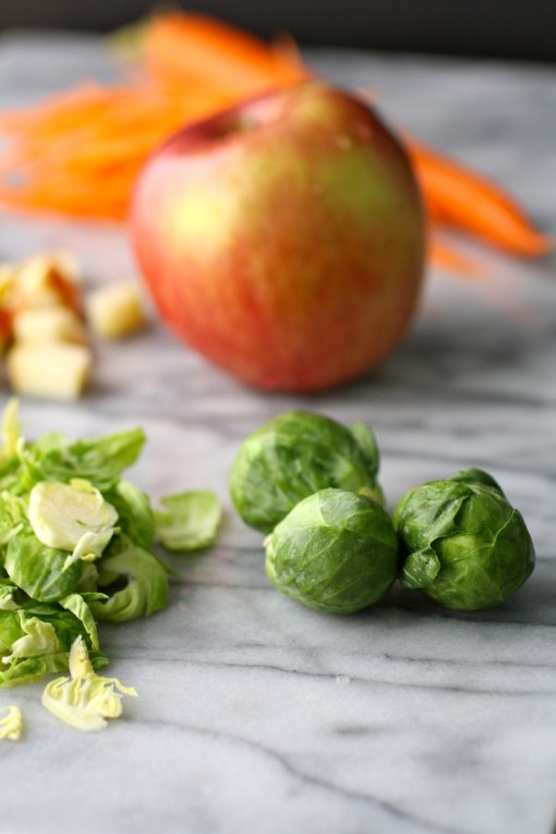Brussels sprouts, apples, carrots