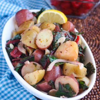 Italian Potato Salad with Swiss Chard is a fab side dish for the summer season. You'll love this twist this potato salad takes -- it's delicious!