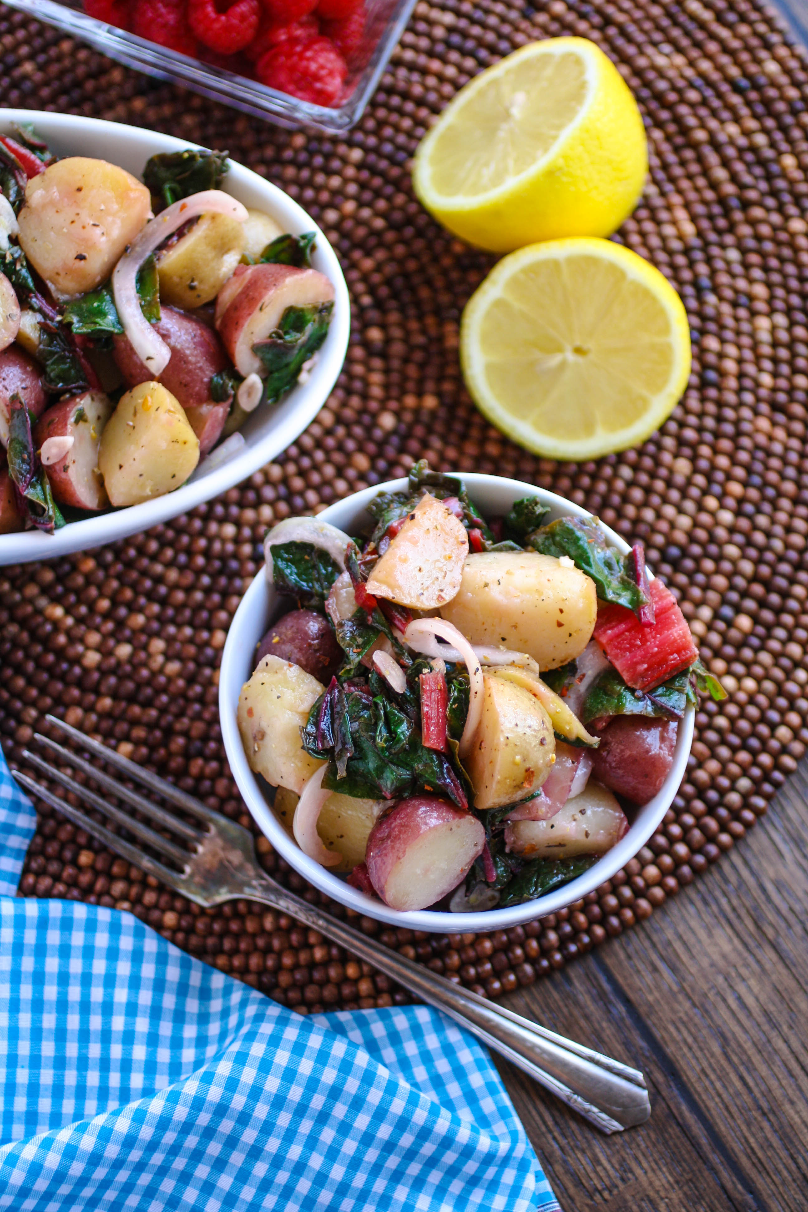 Italian Potato Salad with Swiss Chard is a side dish you'll want to dig into! This is perfect for any get together!