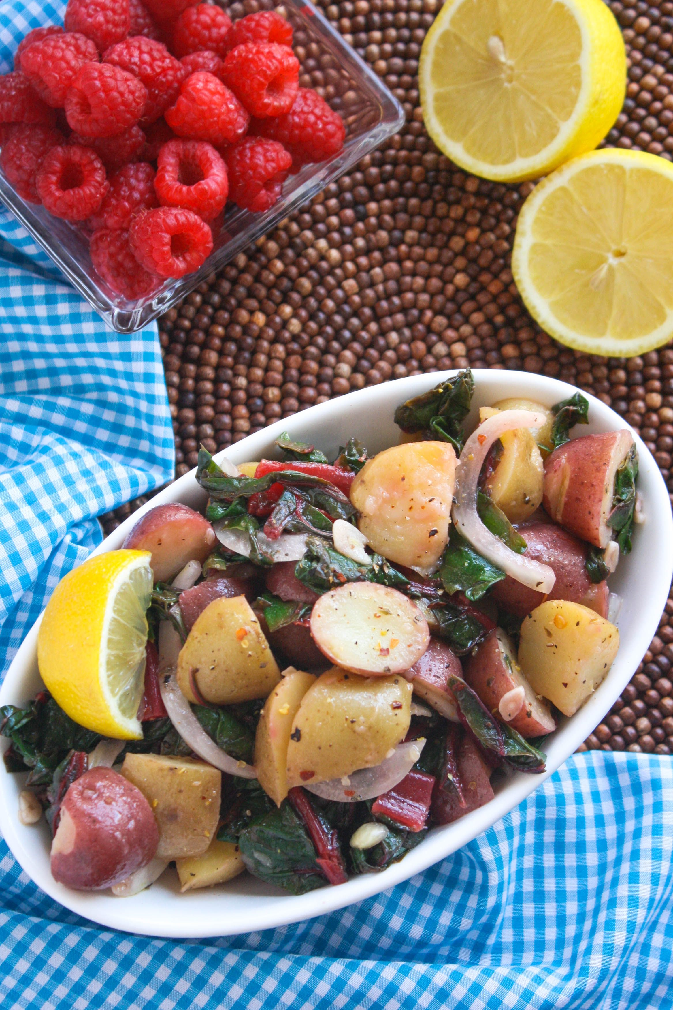 Italian Potato Salad with Swiss Chard is a flavorful side dish you'll want to make all summer. It's healthy take and fresh taste is amazing!