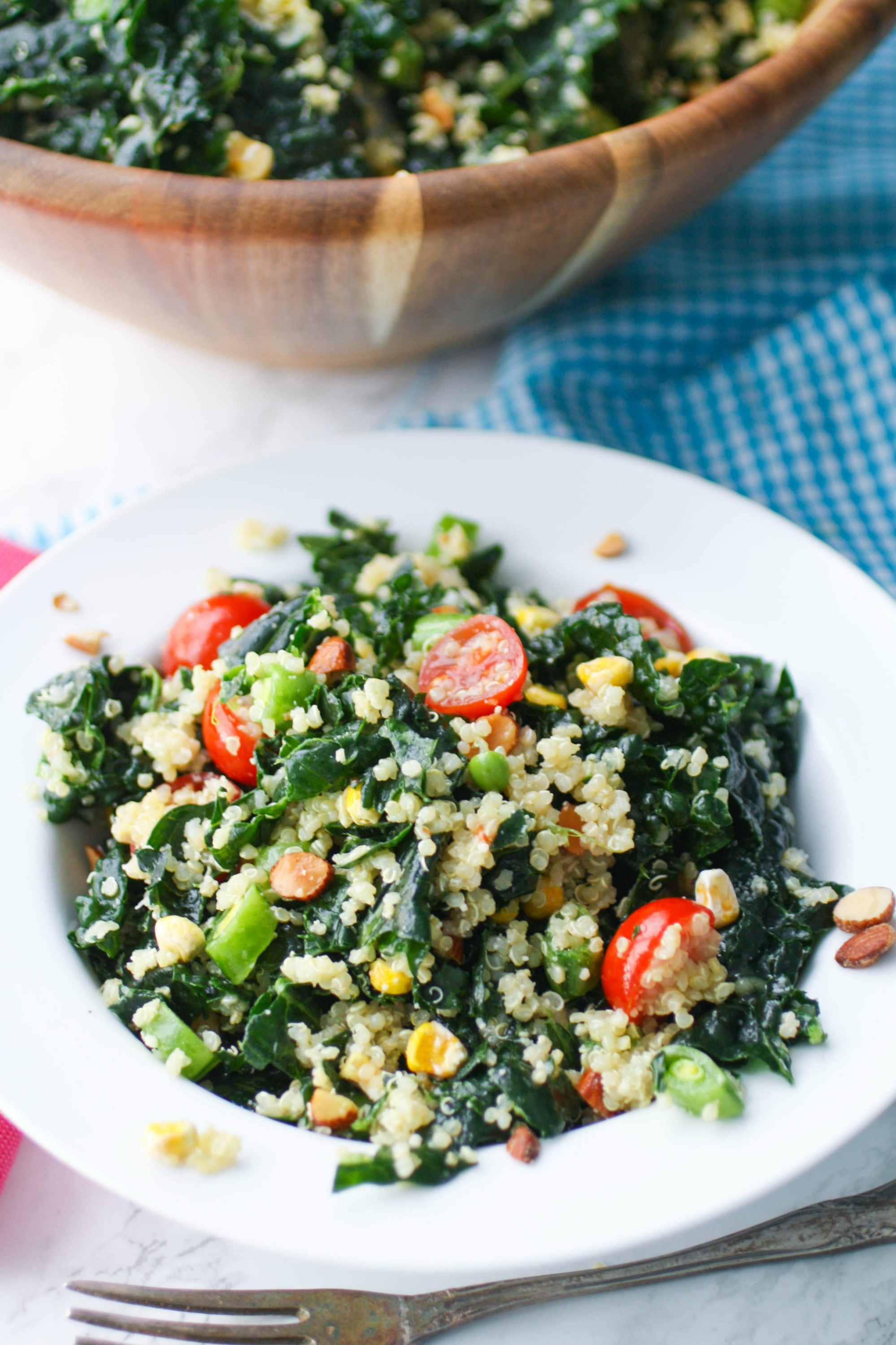 Kale and Quinoa Salad with Honey-Dijon Dressing is a delightful salad to try, soon! You'll love all the ingredients included in Kale and Quinoa Salad with Honey-Dijon Dressing.