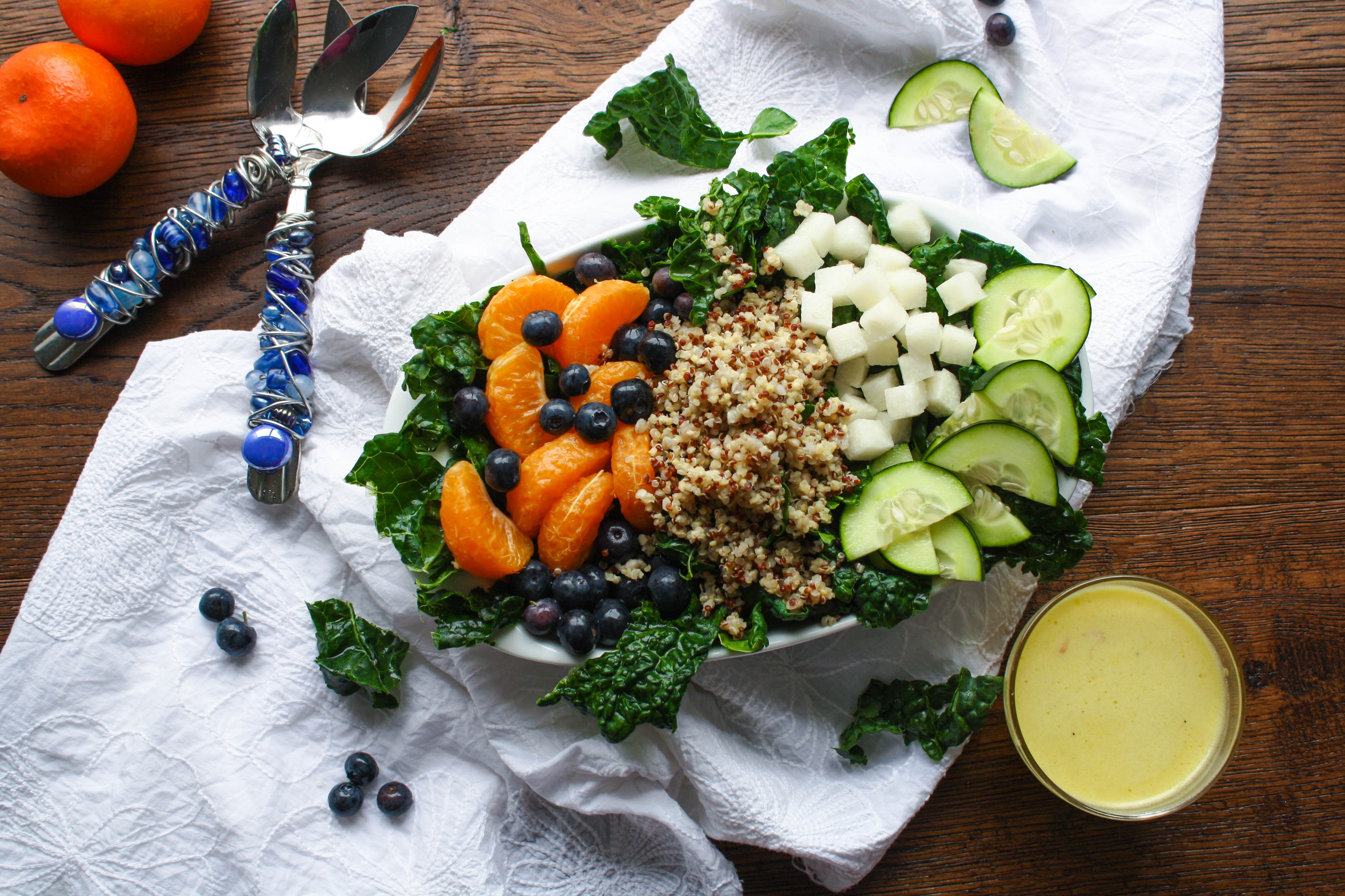 Kale-Quinoa Salad with Orange Vinaigrette is a fabulous salad! It's filled with good-for-you ingredients!