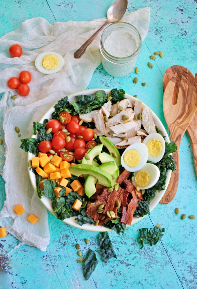 Toss yourself dinner! This Kale Cobb Salad with Buttermilk Ranch Dressing is big on flavor, and it's filling, too!