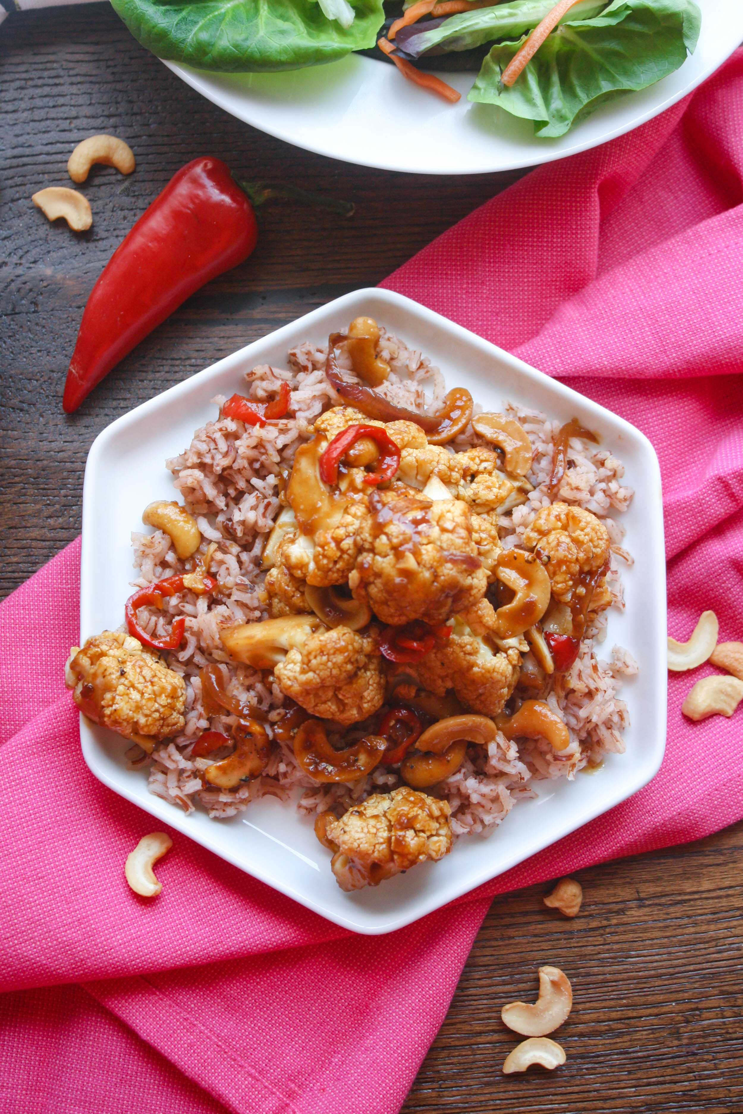 Kung Pao Cauliflower is a tasty take on a Chinese favorite dish. You choose whether to serve this as an appetizer, side, or main dish!