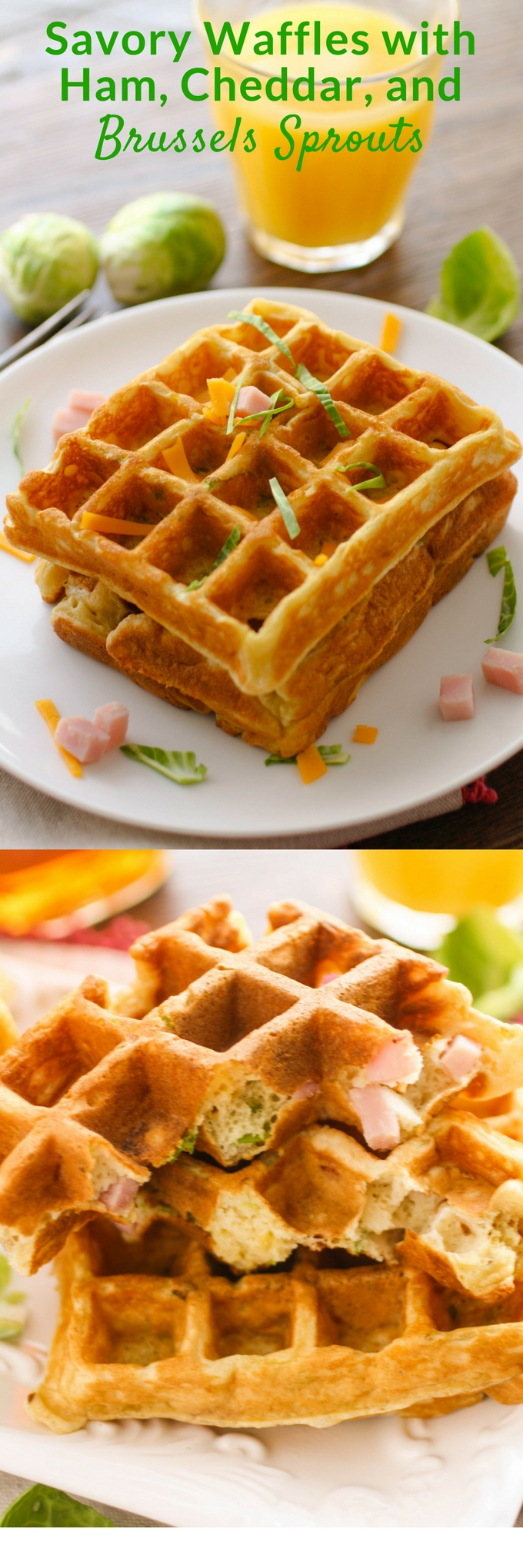 Savory waffles with ham, cheddar, and Brussels sprouts aren't your regular waffles! They're so fun to serve for any meal!