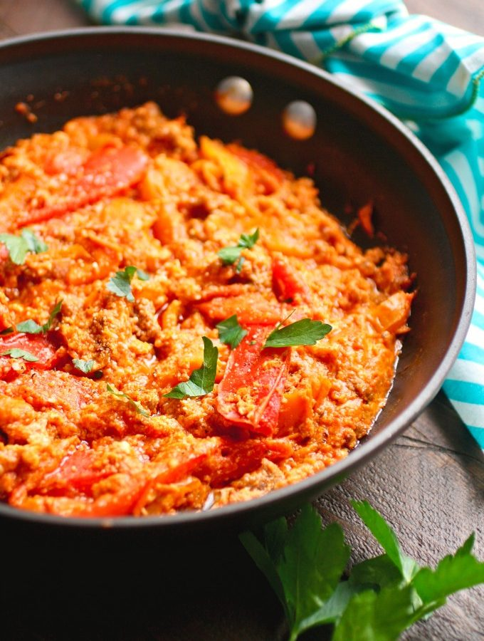 Leftover Breakfast Scramble with Tomato Sauce and Peppers is a great morning meal!