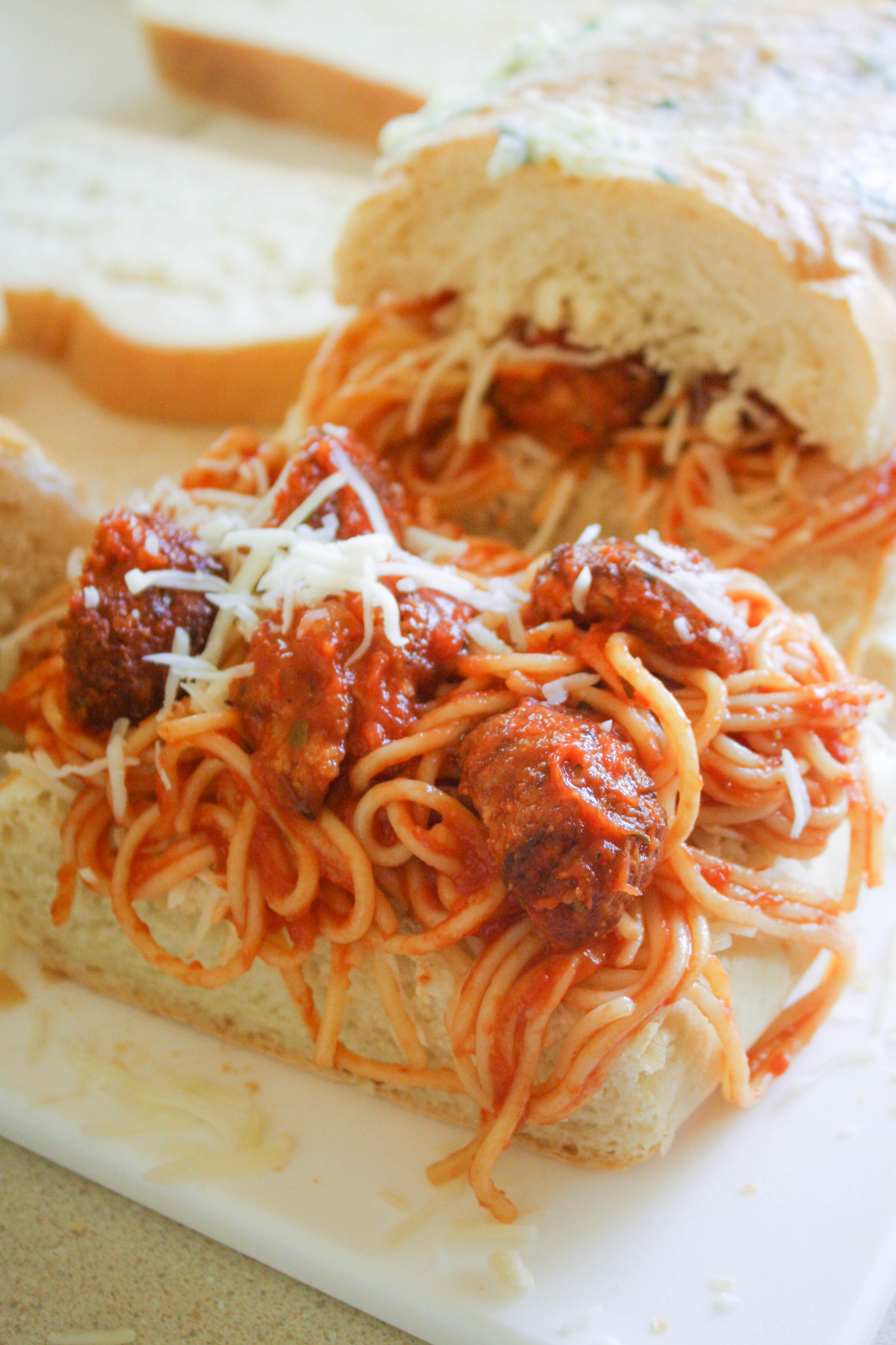 Leftover Spaghetti & Meatball Panini is a great way to refresh your leftovers! You'll love this fun meal!