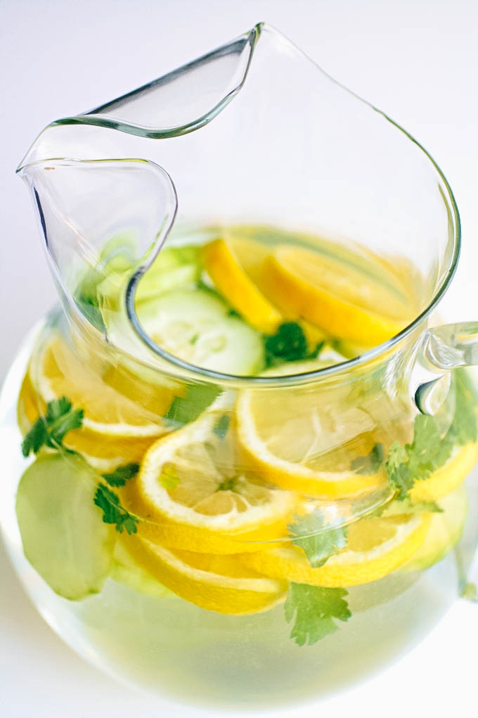 Lemon, Cucumber & Cilantro Infused Water is so refreshing! You'll love a big glass of Lemon, Cucumber & Cilantro Infused Water!