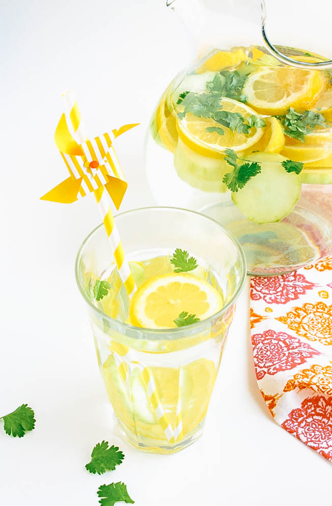 Lemon, Cucumber & Cilantro Infused Water is a drink to keep on hand all season. Lemon, Cucumber & Cilantro Infused Water is refreshing anytime of year.