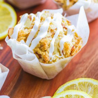 Lemon Muffins with Almond Streusel and Glaze are the perfect morning treat! These lemon muffins are delightful!