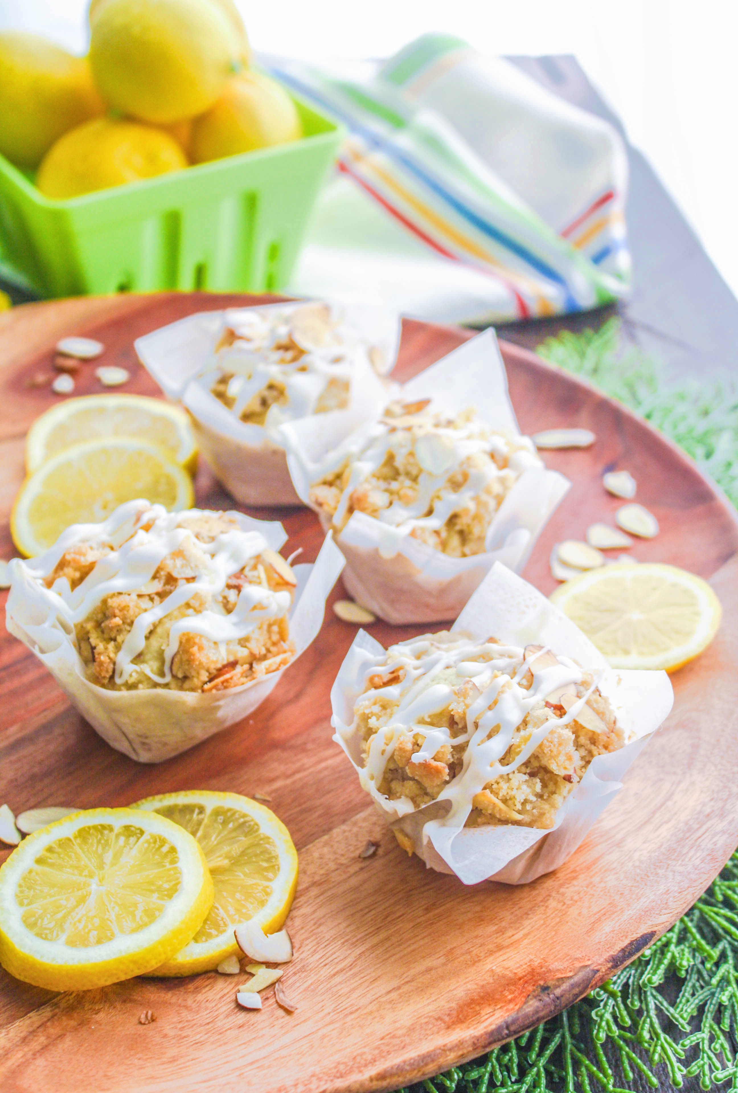 Lemon Muffins with Almond Streusel and Glaze make a wonderful breakfast. You'll love these lemon muffins for breakfast or an afternoon treat!