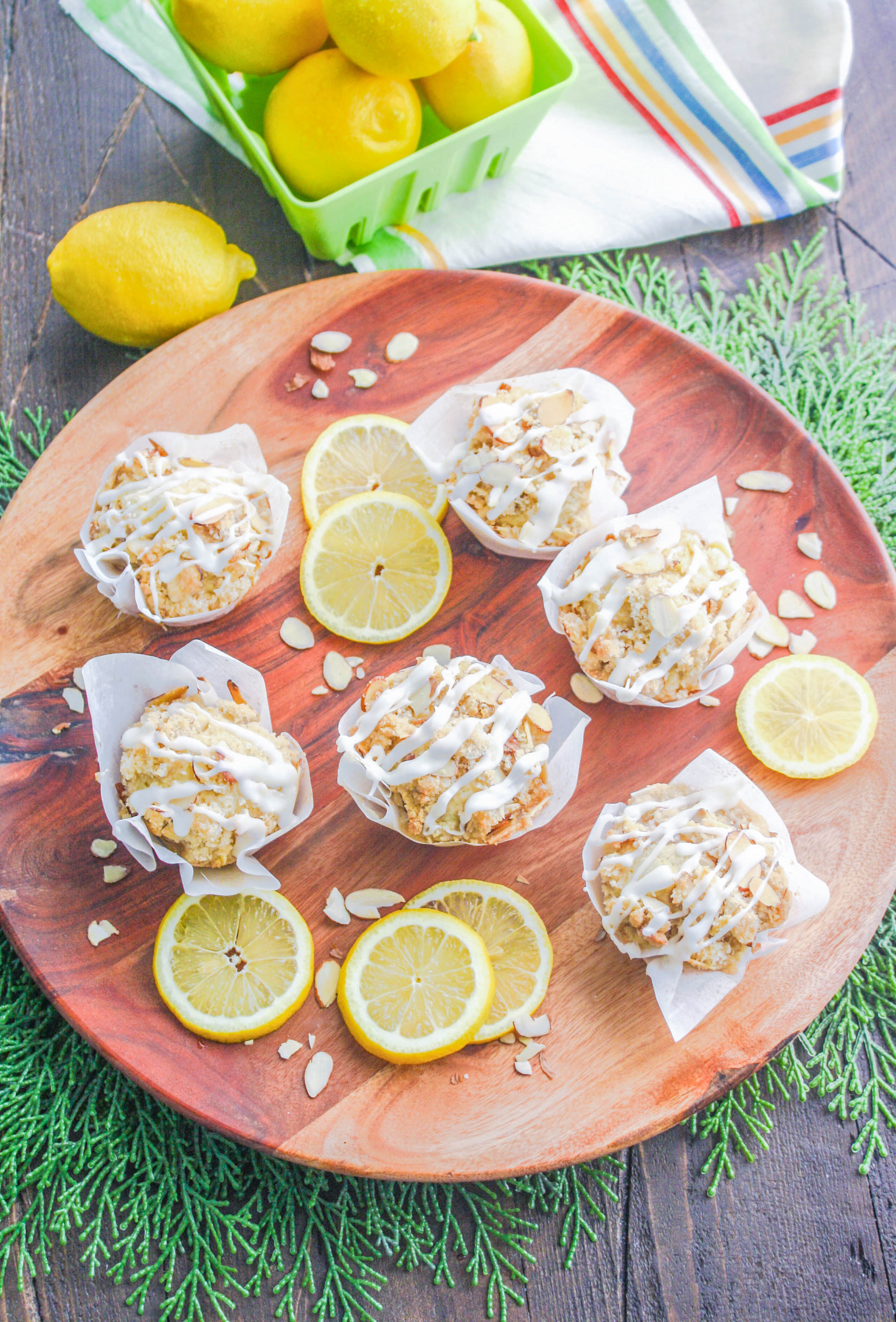 Lemon Muffins with Almond Streusel and Glaze are a treat in the a.m. You'll love lemon muffins any time of day or night!