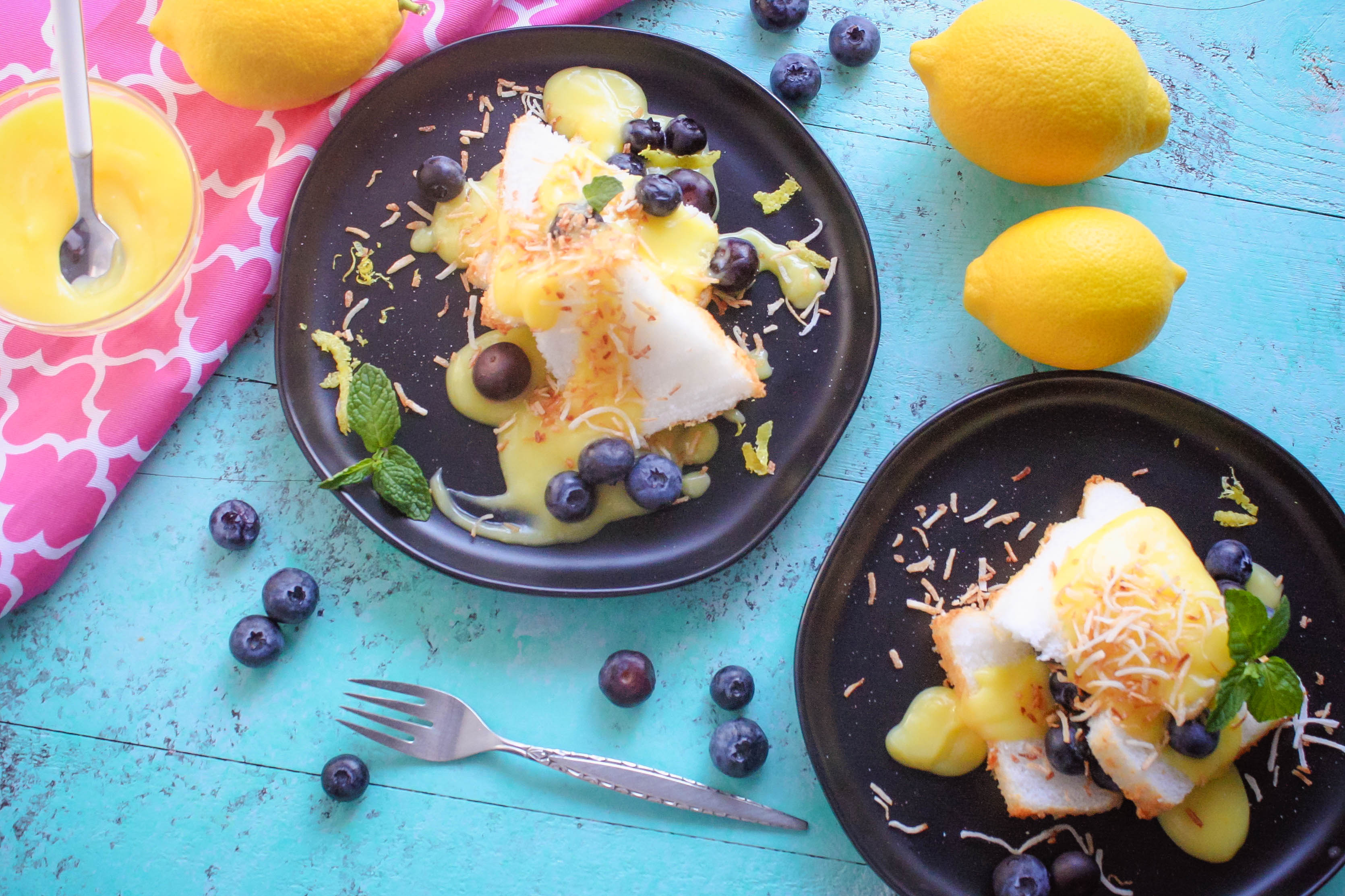 Lemon Curd Layered with Angel Food Cake and Blueberries makes a lovely treat.