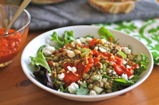 Lentil Salad with Roasted Red Pepper Dressing