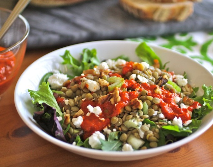 Lentil Salad with Roasted Red Pepper Dressing