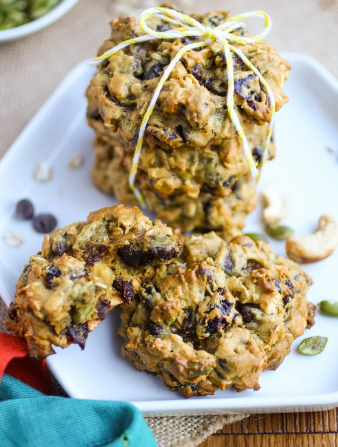 Loaded Pumpkin Harvest Cookies are a treat for the season. These cookies are filled with great ingredients!