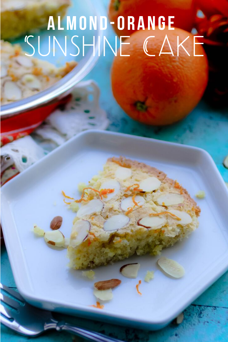 Almond-Orange Sunshine Cake provides a ray of delightfulness to your day! Make this Almond-Orange Sunshine Cake soon, no matter what the season!