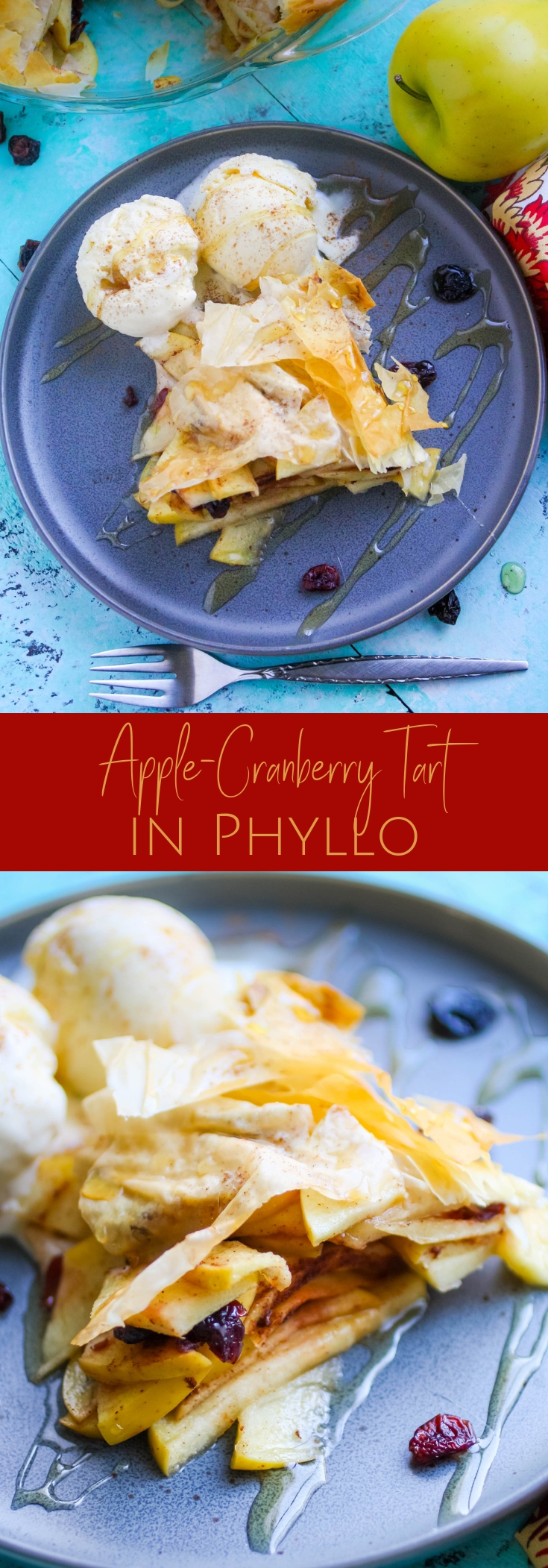 Apple-Cranberry Tart in Phyllo is a treat everyone will enjoy! Apple-Cranberry Tart in Phyllo is flaky and delicious!