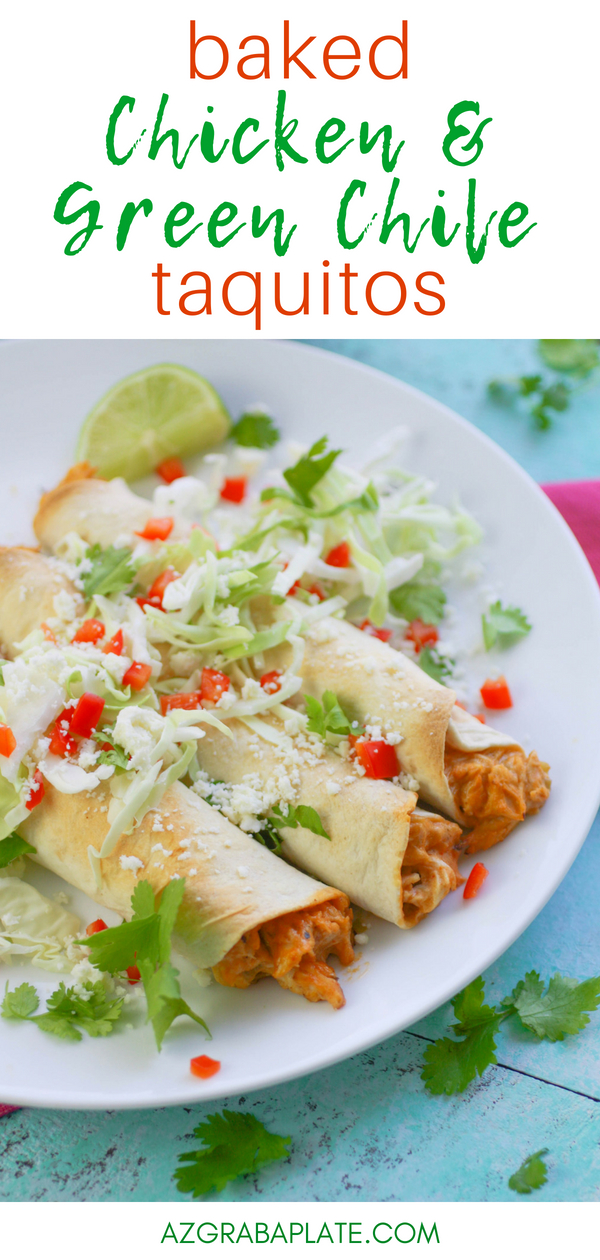 Baked Chicken and Green Chile Taquitos are a fun and flavorful snack or for a light meal. Baked Chicken and Green Chile Taquitos are a Mexican-inspired favorite and baked for good measure!
