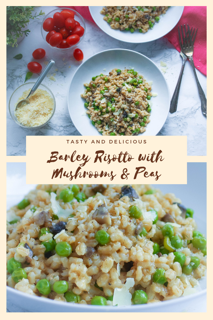 Barley Risotto with Mushrooms and Peas is so tasty! You'll enjoy Barley Risotto with Mushrooms and Peas any night.