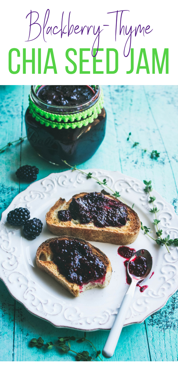 Blackberry-thyme chia seed jam is a wonderfully fruity treat in the morning. Blackberry-thyme chia seed jam is so easy to make and enjoy anytime!
