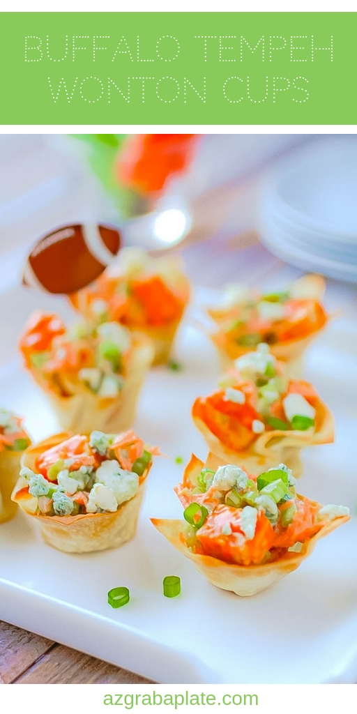 Buffalo Tempeh Wonton Cups make a great vegetarian snack! You'll love these vegetarian Buffalo Tempeh Wonton Cups to snack on.