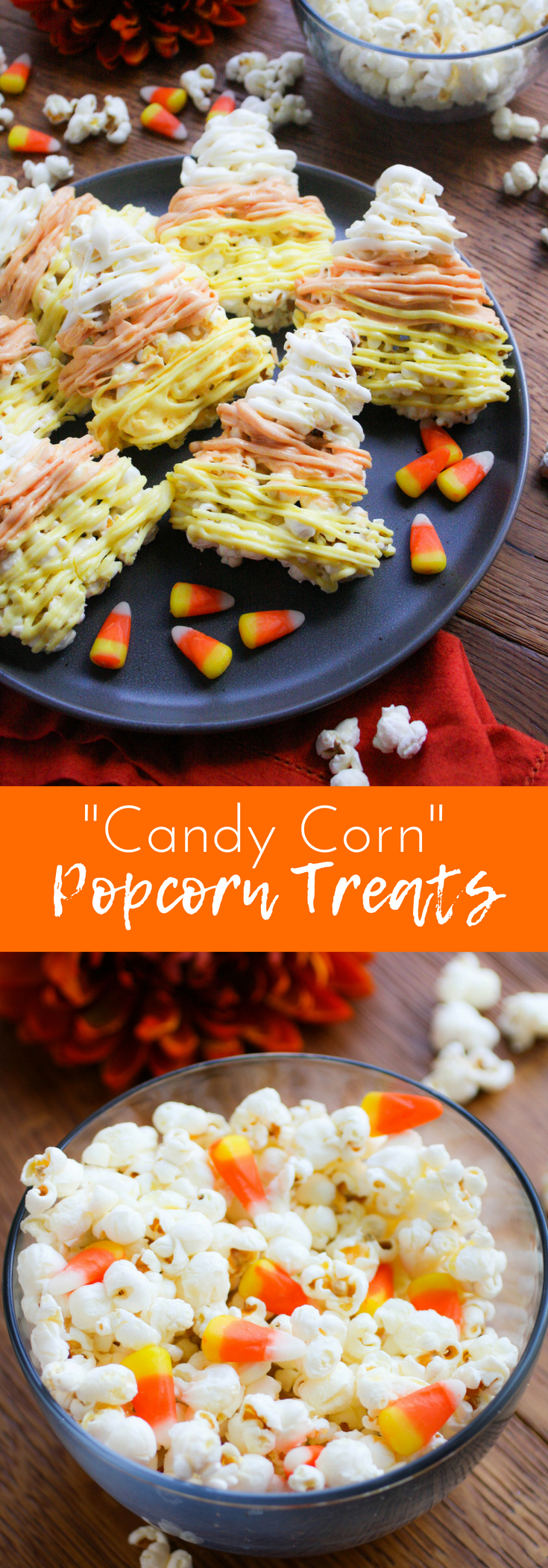 Candy Corn-Shaped Popcorn Balls are a festive Halloween treat you'll love! Serve these Candy Corn-Shaped Popcorn Balls for Halloween fun!