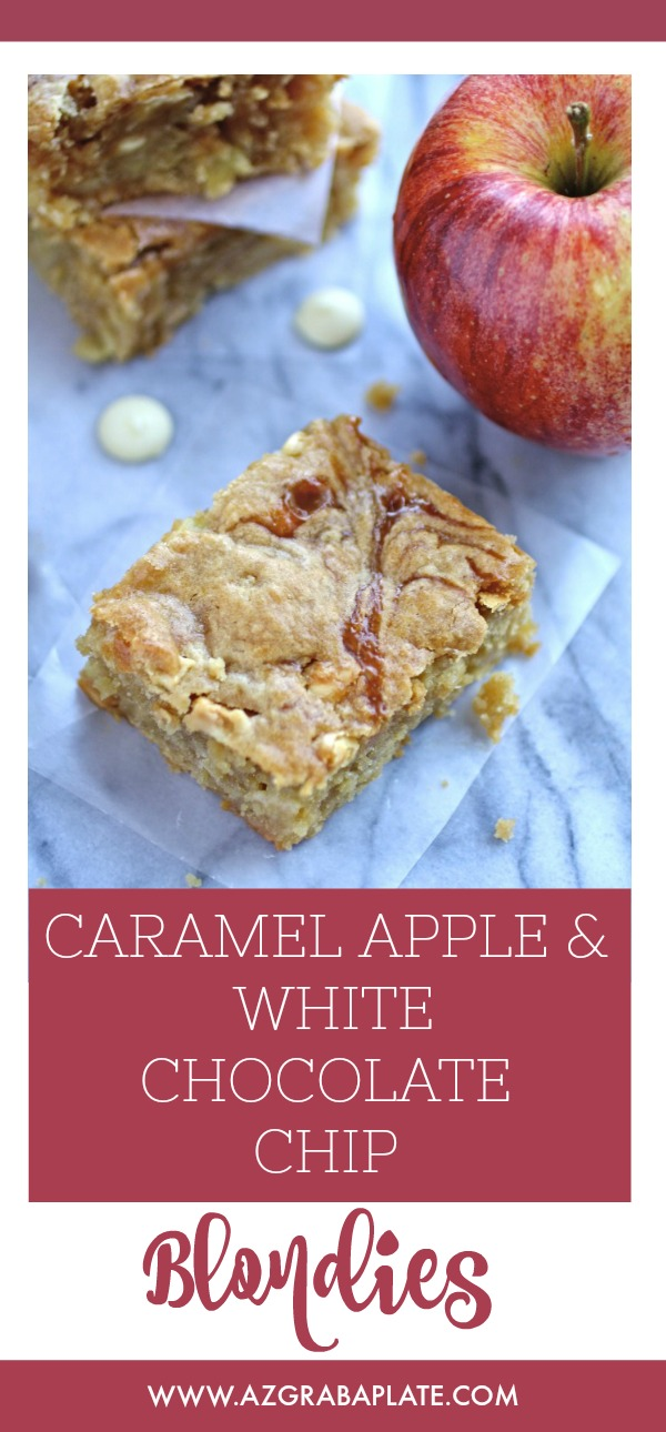 Caramel Apple and White Chocolate Chip Blondies make a fabulous treat. This dessert is perfect for the fall season as a special treat.
