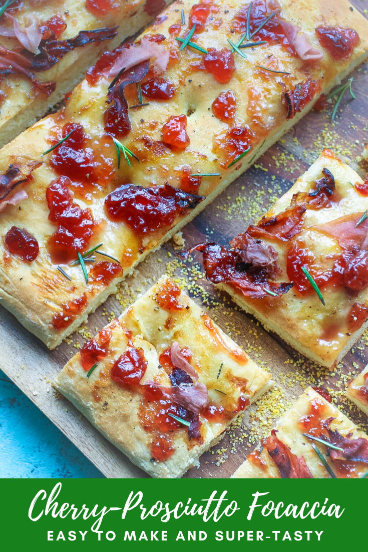 When will you enjoy Cherry-Prosciutto Focaccia? Cherry-Prosciutto Focaccia is perfect as an afternoon snack or as dinner!
