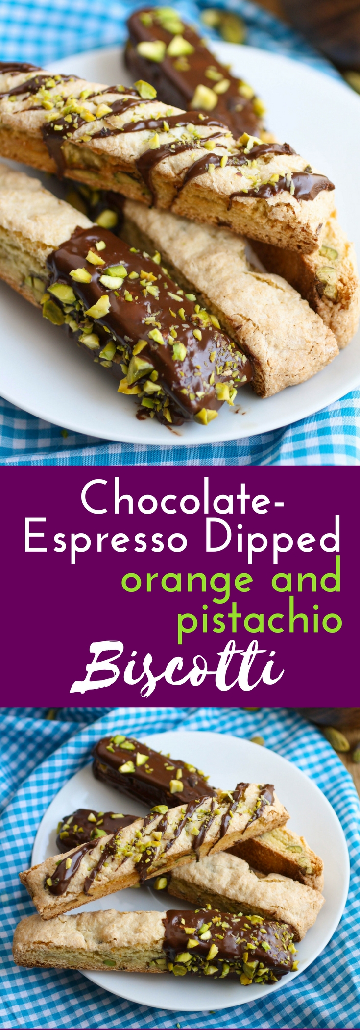 Chocolate-Espresso Dipped Orange and Pistachio Biscotti cookies are a treat. These cookies include fabulous flavors and are good to enjoy anytime!