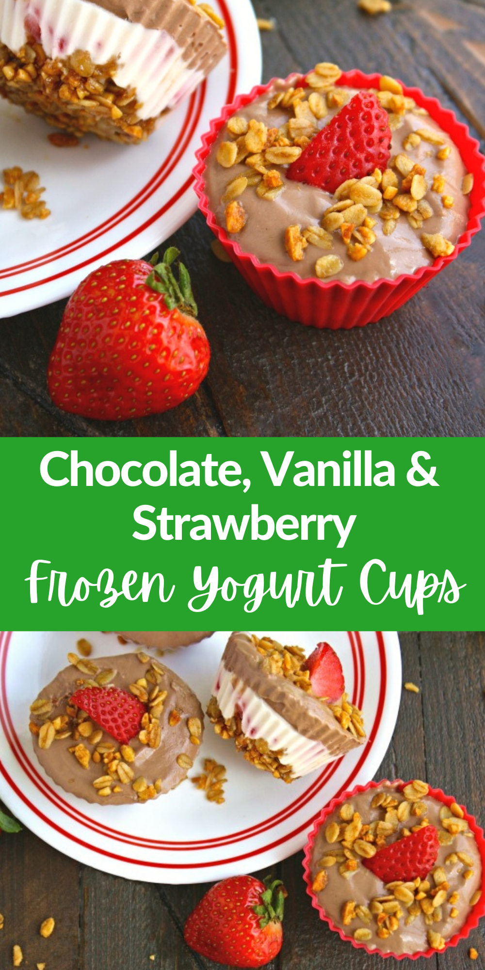 Chocolate, Vanilla & Strawberry Frozen Yogurt Cups are so tasty and easy to make! You'll love these Chocolate, Vanilla & Strawberry Frozen Yogurt Cups anytime of the day!