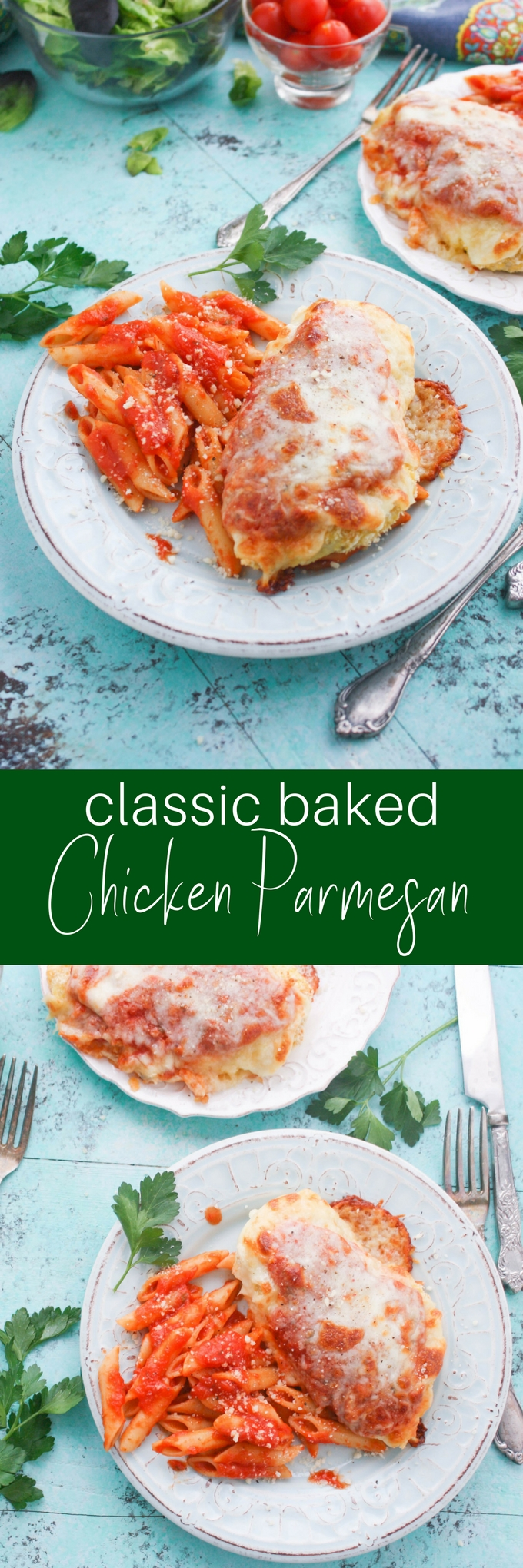 Classic Baked Chicken Parmesan is a restaurant favorite to make at home. Classic Baked Chicken Parmesan will become a favorite in your home!