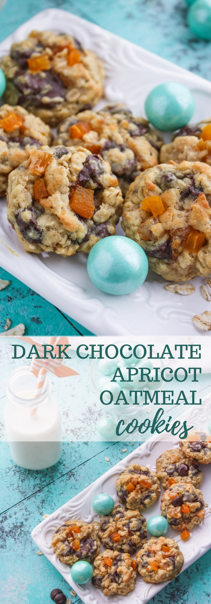Dark Chocolate Apricot Oatmeal Cookies are chewy and loaded with goodies! Dark Chocolate Apricot Oatmeal Cookies are tasty cookies to sink your teeth into! Yum!