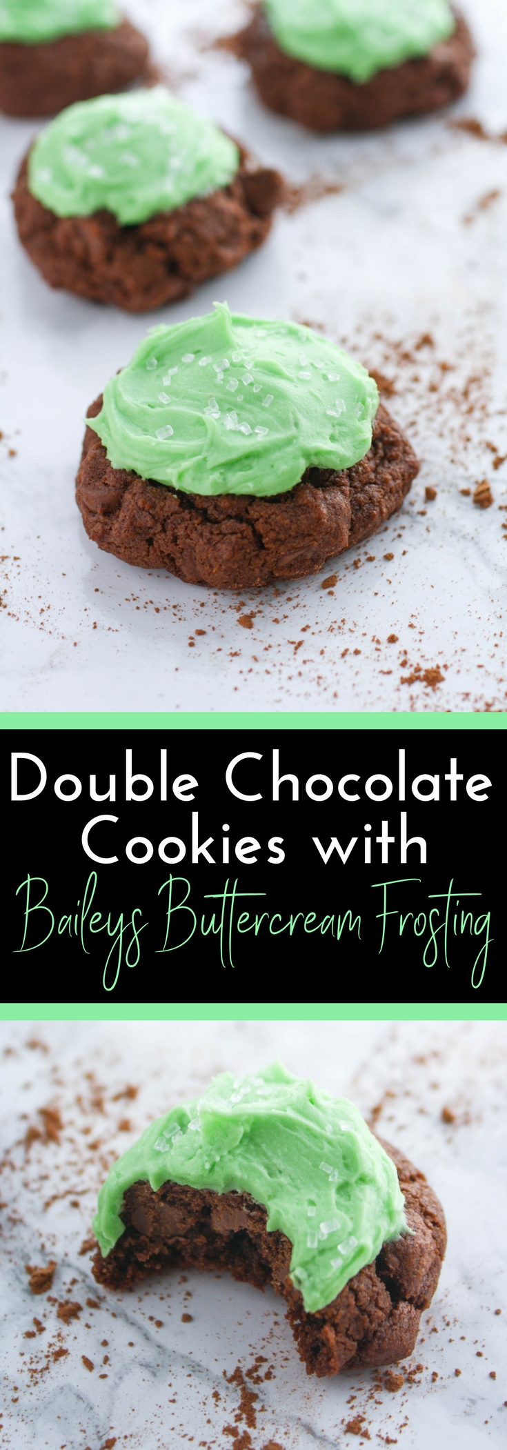 Double Chocolate Cookies with Baileys Buttercream Frosting are the perfect treats to help celebrate St. Patrick's Day! Enjoy these Double Chocolate Cookies with Baileys Buttercream Frosting any day of the year, but they're fun for St. Patrick's Day!