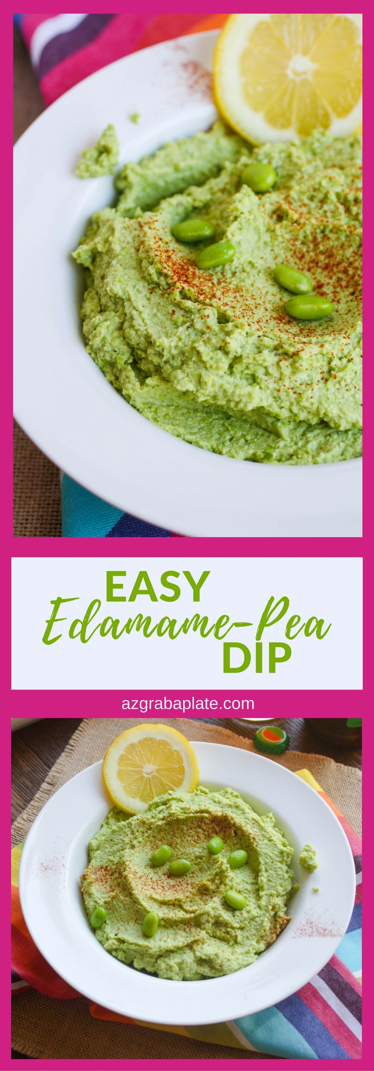 Easy Edamame-Pea Dip is fabulous for summer fun! Take it to a picnic, a party, or pack it in your lunch bag to enjoy anytime!