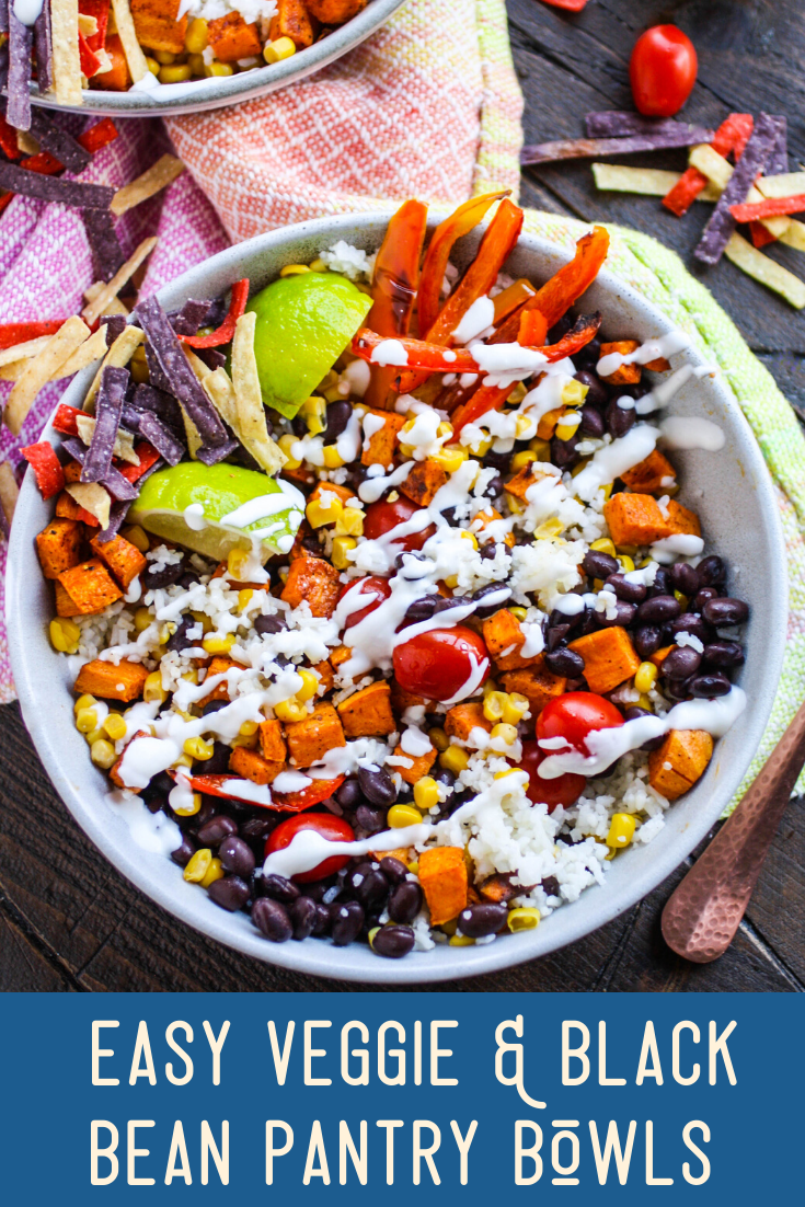 Easy Veggie and Black Bean Pantry Bowls are fabulous for a filling meal! Make them with what you have on hand!