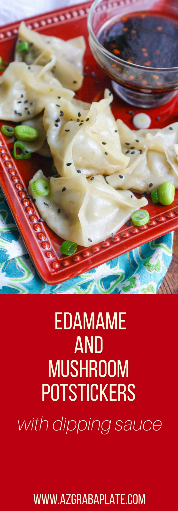 Edamame and Mushroom Potstickers with Dipping Sauce are fun little treats to make any night of the week. These potstickers and dipping sauce are great to serve at parties, too!