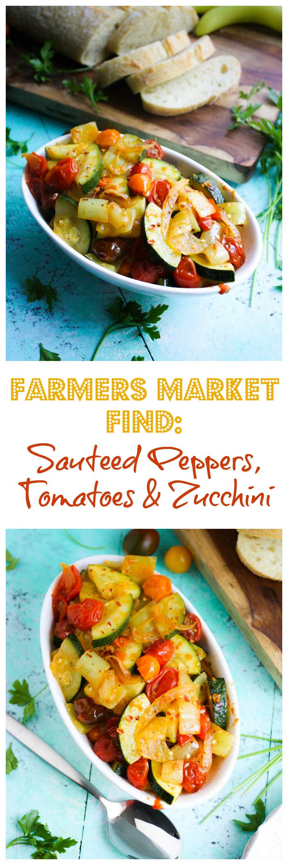 Farmers Market Find: Sautéed Peppers, Tomatoes & Zucchini is a flavorful side dish or appetizer for the season. Farmers Market Find: Sautéed Peppers, Tomatoes & Zucchini is a side dish you'll love for the summer months.
