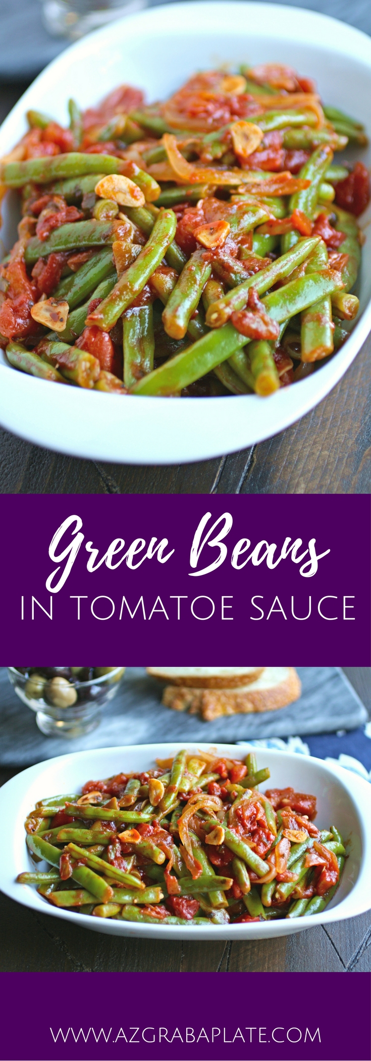 Green Beans in Tomato Sauce is a simple, straightforward, and delicious side dish. You'll love the fresh flavors and colors combined in this veggie dish.