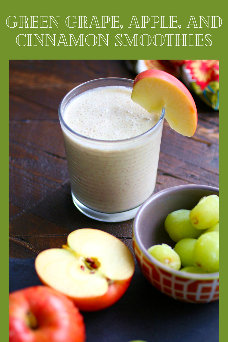 Green Grape, Apple, and Cinnamon Smoothies are perfect for breakfast or as an afternoon snack. You'll love the flavors in these smoothies!